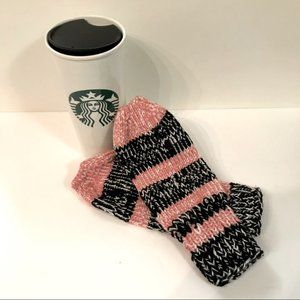 NEW Handmade Knitted Black & Pink Striped Mittens